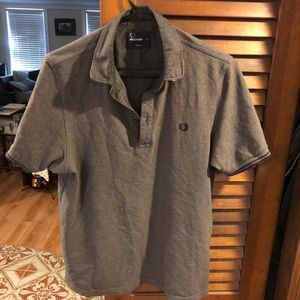 Vintage Fred Perry Polo in gray and black twin tip